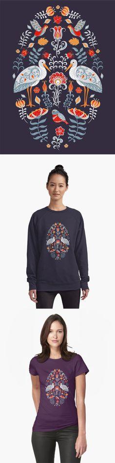 Storks, Birds and flowers. Oval decorative ornament. Folk art. #tshirt #tshirtdesign #folkart #scandinavian #stork #birdart #skaskadesign