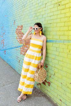 ae65d88ce0e CeCe Yellow Stripe Jumpsuit Yellow Jumpsuit