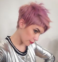 choppy lavender pixie with short bangs