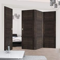 Thrufold Montreal Dark Grey Ash 3+1 Folding Door - Prefinished - Lifestyle Image. #flush #foldingdoors