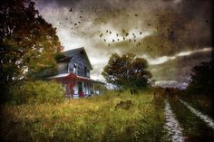 Echoes in the Shadows - Digital art photography of abandoned farmhouse in Upper Peninsula of Michigan in September by Jim Crotty