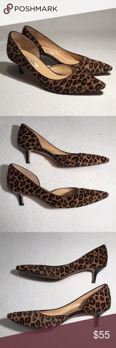 Oscar de la Renta, leopard print heels - size 38.5 Gorgeous pair of used Oscar de la Renta calf hair or pony hair shoes with leopard print. Pointed toe with a little lovely kitten heel. Made in Italy and are simply gorgeous. Miss Lulu style in Leopard, Size 38.5 in European size. Even though that translates to a 8.5 by Posh, I hear they run small (from my sister, who is an 8.5).   Used condition. Has a spot of balding on each toe and heel tips need to be replaced. There's a mark inside backs…