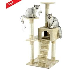 Cat Tree Cream 52 inch Tower Tree Kitten Furniture Multi Activity 3 Levels Playhouse Ladder Lounging Leaping Honing Scratching Posts Snoozing Apartment Cream Color *** You can find more details by visiting the image link. (This is an affiliate link) #CatActivityTrees