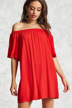 Forever 21 Contemporary - A crepe woven dress featuring an elasticized off-the-shoulder neckline, short sleeves, a relaxed fit, and a mini silhouette.