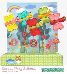 Rainbow Party Butterfly Marshmallow Pops. By The Marshmallow Studio for LivingLocurto.com