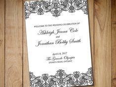 "Fold Over Wedding Program Template Download ""Chantilly"" Black Horizontal Lace Program Order of Service Half Fold Program Printable Download by PaintTheDayDesigns"