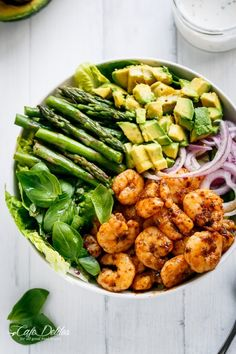 Blackened Shrimp, Asparagus and Avocado Salad with Lemon Pepper Yogurt Dressing is so easy to make, low in fat and carbs, and full of flavour!