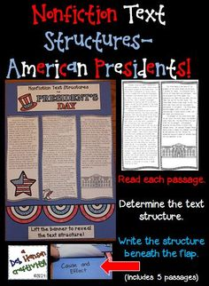 Informational Text Structures Craftivity related to U.S. Presidents- Perfect activity for President's Day, but can be used anytime!  Students read 5 passages and determine the nonfiction text structure of each passage. Great February bulletin board idea, too!