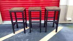 Rustic Barstools, Custom Size and Finish. Size: 16 x 16 x 30 high Rustic Bar Stools, Backless Bar Stools, Metal Furniture, Modern Chairs, Wood And Metal, Kitchen Decor, Handmade Gifts, Size 16, Decoration