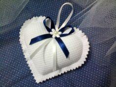 Sachê Coração Branco e Azul