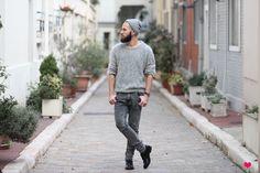 J'aime tout chez toi  #FASHIONMEN #MENSWEAR #MODE #GREY #BEARD #BEARDED #OOTD #MEN
