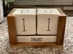 Brand New Rae Dunn Wooden Block Calendar! Please see my other listings for more Rae Dunn items! Block Calendar, Wooden Blocks, New Room, Rooms, App, Decorating, Stuff To Buy, Things To Sell, Home Decor