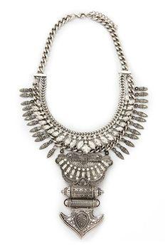 Rhinestoned Tribal-Inspired Necklace | Forever 21 - 1000150369