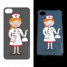 ilustração personalizada para capa de telemovel - enfermeira