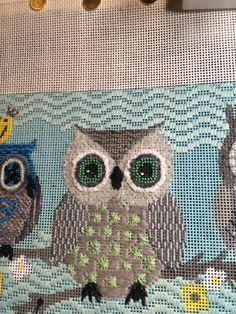 needlepoint owl, designer unknown