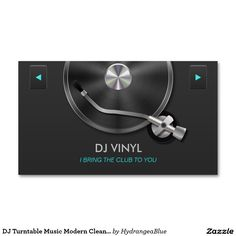 DJ Turntable Music Modern Clean Gray Silver Double Sided Standard Business Cards Pack