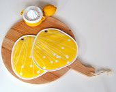 zesty mod kitchen bright yellow and white pair of potholders - large and thick
