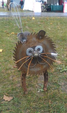 This recycled yard art