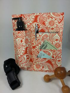 Massage Therapy single lotion bottle with 3 side pockets LEFT hip holster, orange mehndi print, black belt by SideKix on Etsy