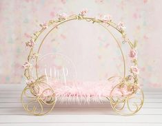 Beautiful photography prop Princess Carriage, perfect photo prop for little girls. Newborn Baby Photography, Photography Props, Newborn Posing, Golden Princess, Princess Carriage, Cinderella Carriage, Accessoires Photo, Backdrop Design, Digital Backdrops