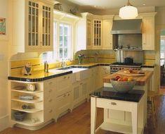 1950s Kitchen Design; Notice: Tile Border On Back Splash, Shelf Corbels  Under Upper