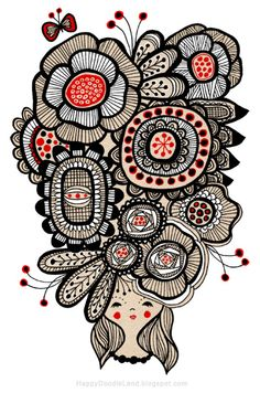 Oh man -- I would love to batik my comforter with something like THIS but I'm pretty sure I'd screw it up! Tangle Art, Tangle Doodle, Doodles Zentangles, Zen Doodle, Doodle Art, Zentangle Patterns, Doodle Patterns, Tattoo Patterns, Happy Doodles