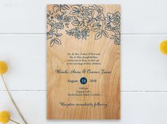 Flat Rectangle Wedding Invitations - Rustic Woodgrain