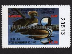 1989 Hooded Mergansers  Artist: Elaine Byrd Alabama Dept of Conservation and Natural Resources Stamp
