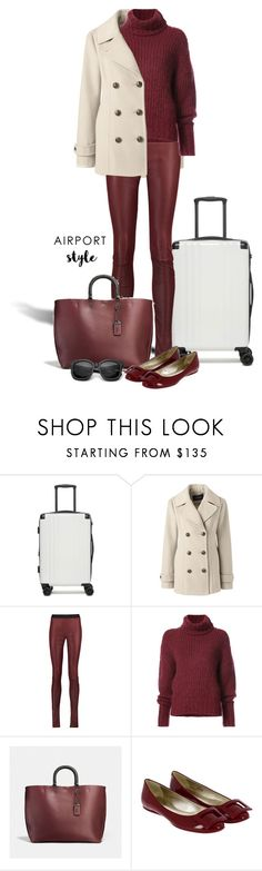 """""""Airport style"""" by nicole-christie-mennen ❤ liked on Polyvore featuring CalPak, Lands' End, Drome, BY. Bonnie Young, Coach, Roger Vivier and airportstyle"""