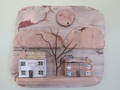 chase the Tide Wooden Houses, Ceramic Houses, Little Houses, Mini Houses, Sea Glass Crafts, Driftwood Art, Miniature Houses, Wooden Crafts, House In The Woods
