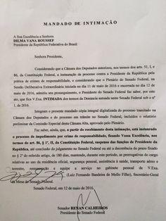 Notificação recebida pela presidente afastada Dilma Rousseff sobre a decisão do Senado de aprovar o processo de impeachment