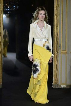 "Paris haute couture: Alexis Mabille  Celebrating the 10th anniversary of his eponymous label, the French designer ""said it with flowers"" at the Fondation Mona Bismarck Monday night in Paris. -fashionmag.com"