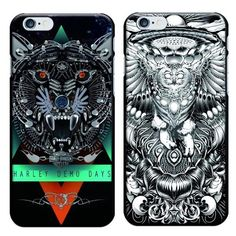 Black Street Fashion Harley Demo Days Eagle Demon Goat Skull Painted Black Plastic PC Hard Case for iPhone 5S SE 6/6S 6/6S Plus