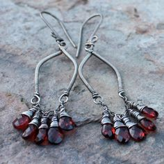 HOLIDAY Sale 15% off- GARNET earrings, Garnet chandelier earrings, JANUARY birthstone, January birthday, sterling silver
