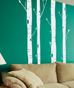 This reminds me of the wallpaper we had in the guest room when I was a kid. I kind of love it. :: White Aspen Tree Wall Decal Set by Sissy Little