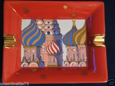 Hermes Russian Theme Red Square Moscow Porcelain Ashtray Birkin Shawl Scarf | eBay