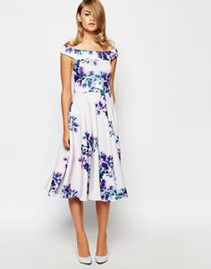 True Violet bardot midi dress in floral print - asos.com - see more ideas at http://themerrybride.org/2015/02/22/wedding-guest-dress-ideas-3/
