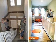 Use the dead-space above stairs for an extra room.