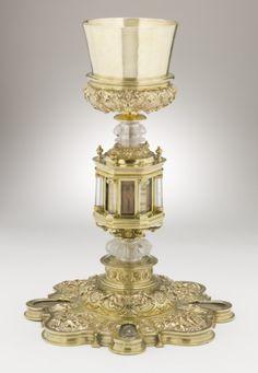 Chalice (Cáliz) Mexico, Mexico City, 1575-1578 Furnishings; Serviceware Silver gilt, rock crystal, boxwood, feathers