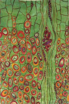 """Karen Kamentzky fiber artist. Roots of Rhythm II 2007 26""""w x 39""""h Artist dyed and painted cotton and silk, yarns Hand and Machine stitched"""