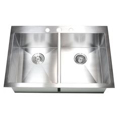 33 Inch Top-Mount / Drop-In Stainless Steel Double Bowl Kitchen Sink  emodern