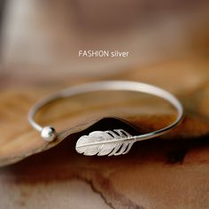 New High-quality Cute Fashion Bohemia 925 silver Feather Jewelry European and American High-end Custom Open Bangles