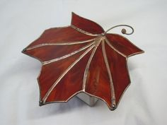 Stained Glass Maple Leaf Box by RenaissanceGlass on Etsy, $75.00
