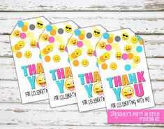 INSTANT DOWNLOAD  Emoji Thank you Tags by Meghilys on Etsy
