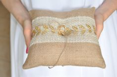 Burlap Ring Pillow Gold leafs Burlap Bearer Pillow Ring Cushion with Lace Ring pillow Woodland / Rustic / Cottage style By NatalysweddingArt