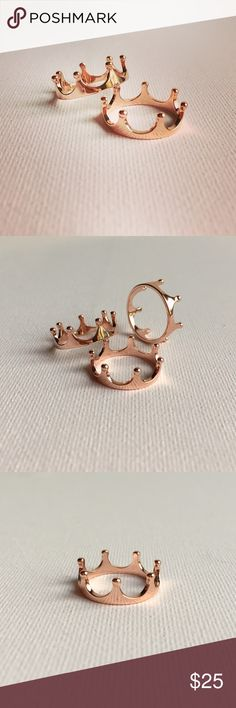 """Rose Gold Plated Sterling Silver Crown Ring Limited quantity available! Super cute crown ring, made of Sterling silver then plated in Rose Gold. Hallmarked 925. Approximately 1/4"""" tall. See below for available sizes. Also available in Sterling silver! New, no tags. Color noted as """"gold"""" and """"pink"""" for """"rose gold"""". Jewelry Rings"""