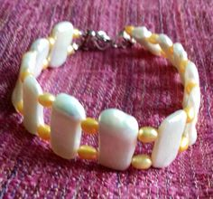 White and Golden Yellow Cultured Freshwater Pearl Bracelet Freshwater Pearl Bracelet, Pearl Jewelry, Golden Yellow, Pearl White, Fresh Water, Beaded Bracelets, Jewellery, Pearls, Sterling Silver