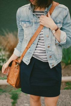 Jean jacket/chambray over grey striped t shirt, black skirt, camel bag