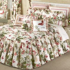 Experience the wonder of beautiful butterflies with the Butterfly Garden Grande Bedspread. The cotton bedspread has floral and butterfly designs in coral, mauve, and green on ivory. Ruffle Bedspread, Floral Bedspread, Floral Bedroom Decor, Bedroom Themes, Designer Bed Sheets, Toddler Girl Bedding Sets, King Duvet Cover Sets, Luxury Bedding Sets, Shabby Chic Homes