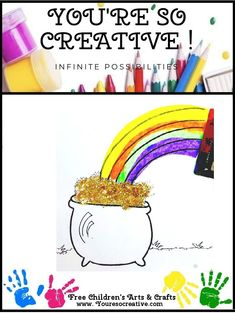Pot of Gold Diy Crafts To Do, Holiday Crafts For Kids, July Crafts, Easy Crafts For Kids, Arts And Crafts Projects, Christmas Crafts, Fathers Day Crafts, Valentine Day Crafts, Preschool Learning Activities